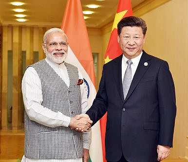 Narendra Modi in a bilateral meeting with Xi Jinping in Tashkent, Uzbekistan on June 23, 2016