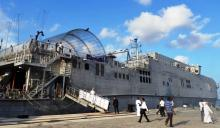 The USNS Fall River moors at Hambantota port in Sri Lanka as part of the Pacific Partnership 2017 exercise this month